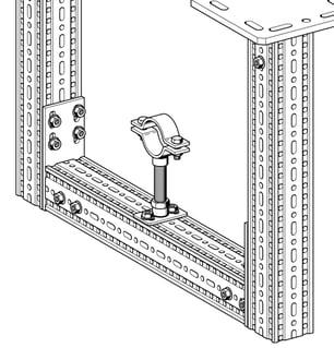 punkt stały z wykorzystaniem konstrukcji z profili nośnych TP, płytki podstawy GPL, rury gwintowanej oraz obejmy